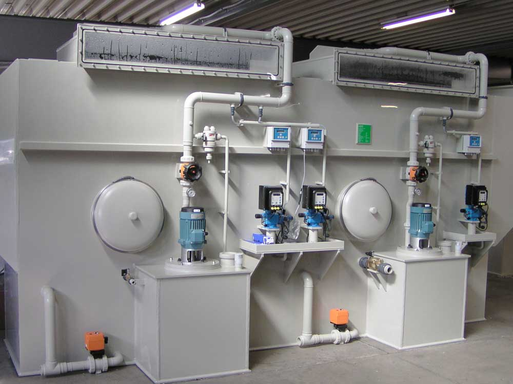 Two-step crossflow gas scrubber Likusta
